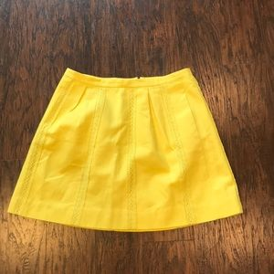 J. Crew Yellow Lace Stripe Skirt in Light Citron